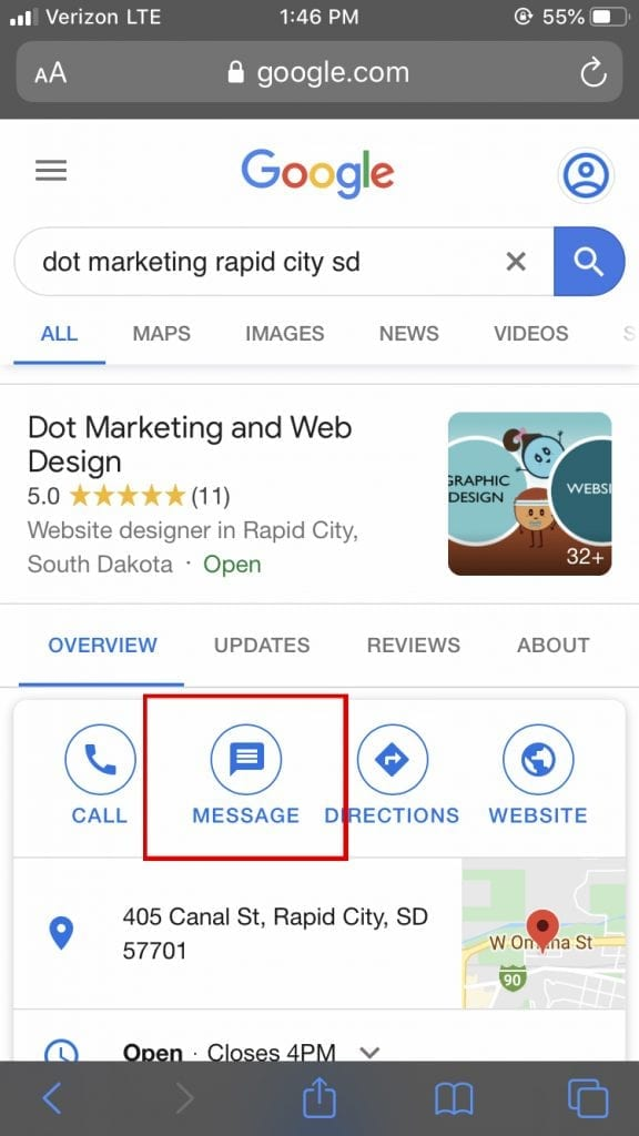 Google My Business Messaging Button on Google