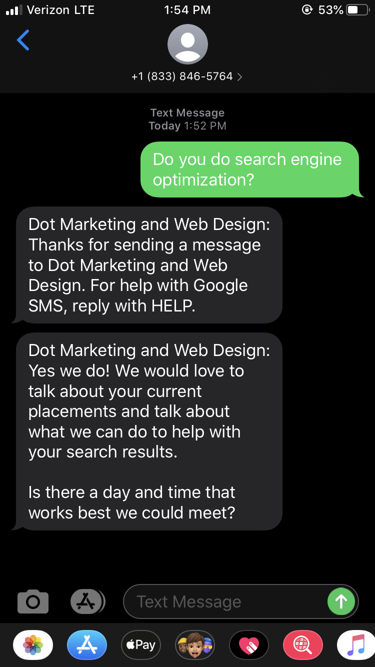Google My Business Messaging Customer Screenshot