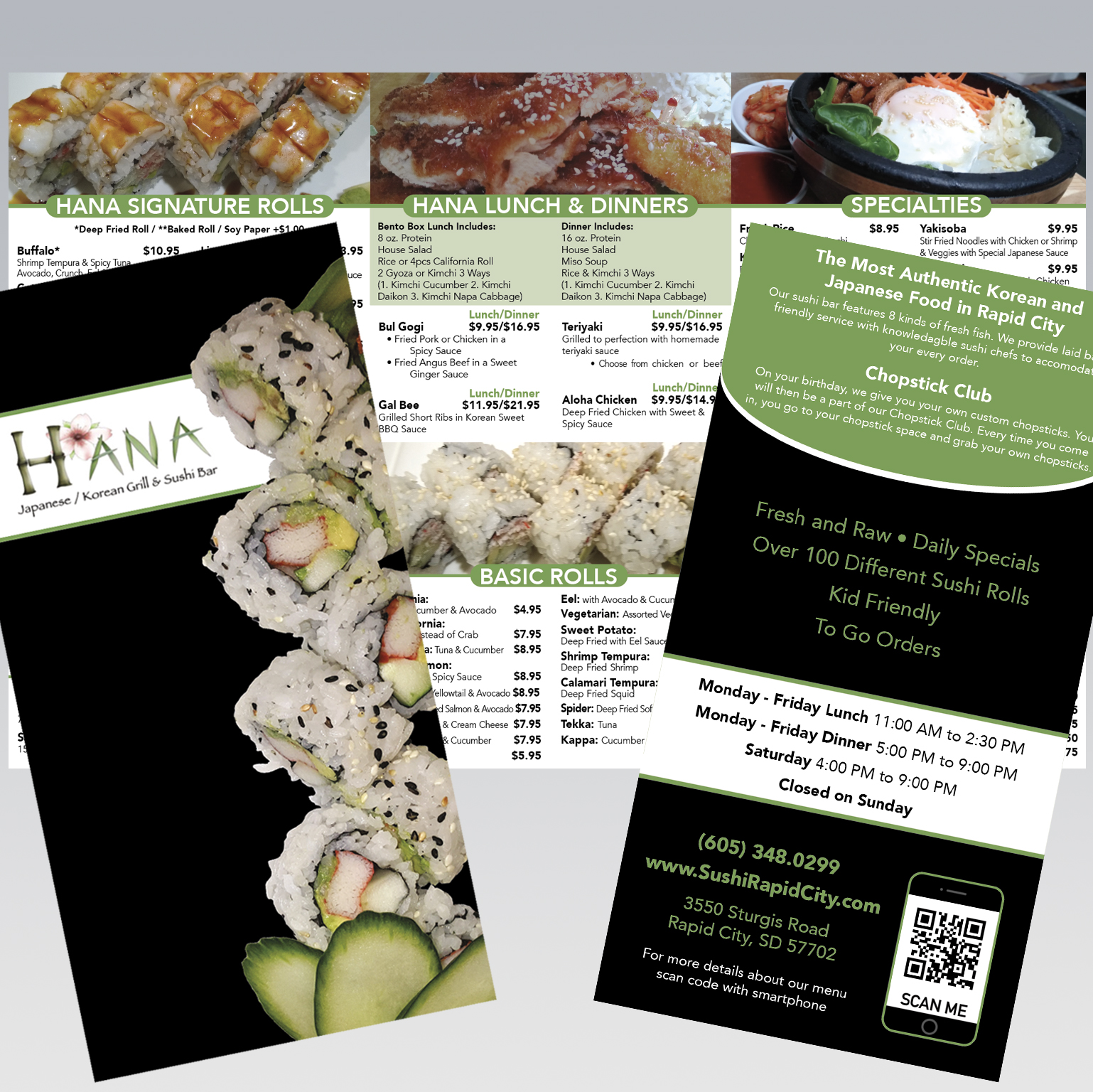 Hana Restaurant Menu - Dot Marketing and Website Design