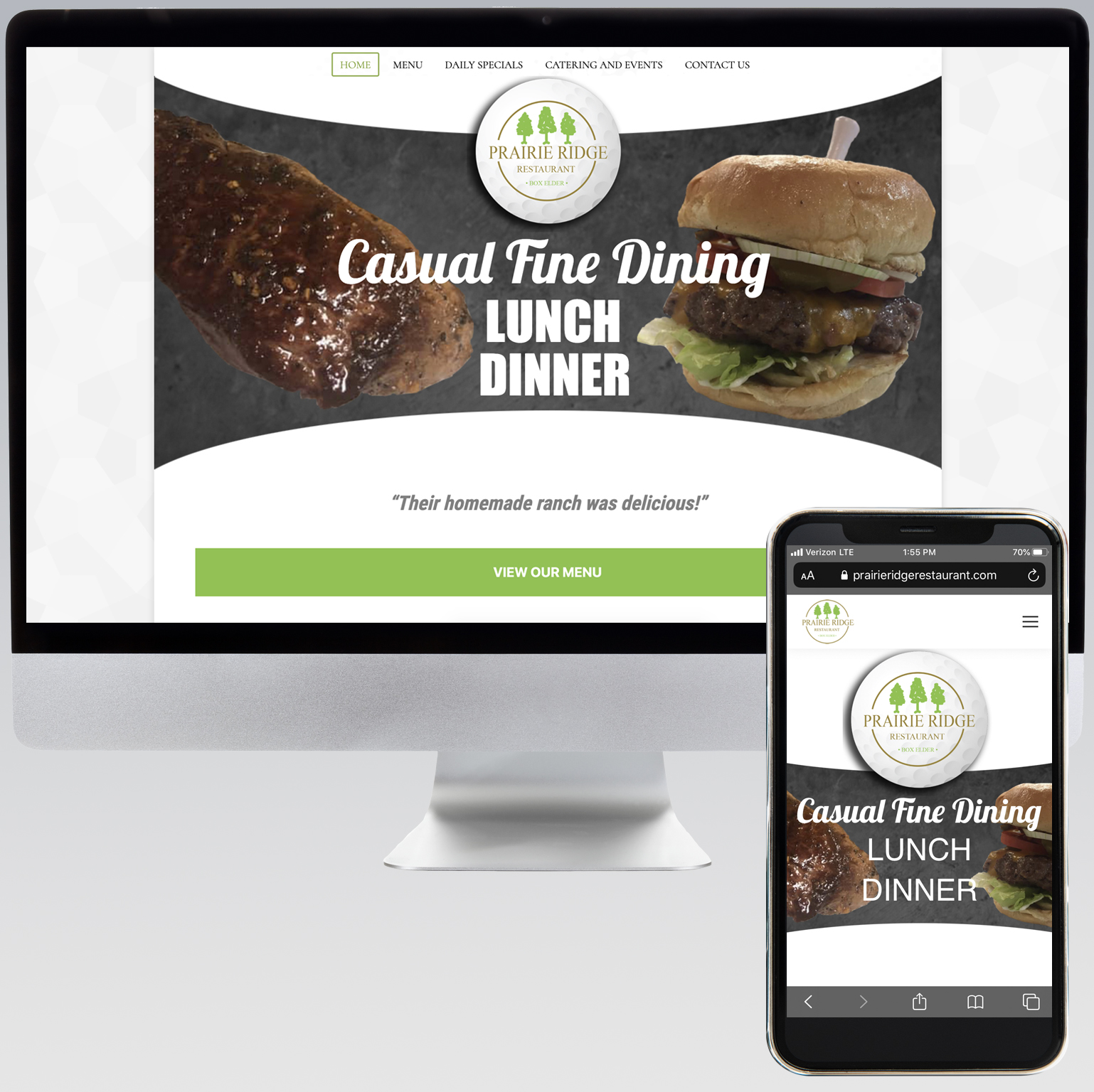 Prairie Ridge Restaurant Website - Dot Marketing and Website Design