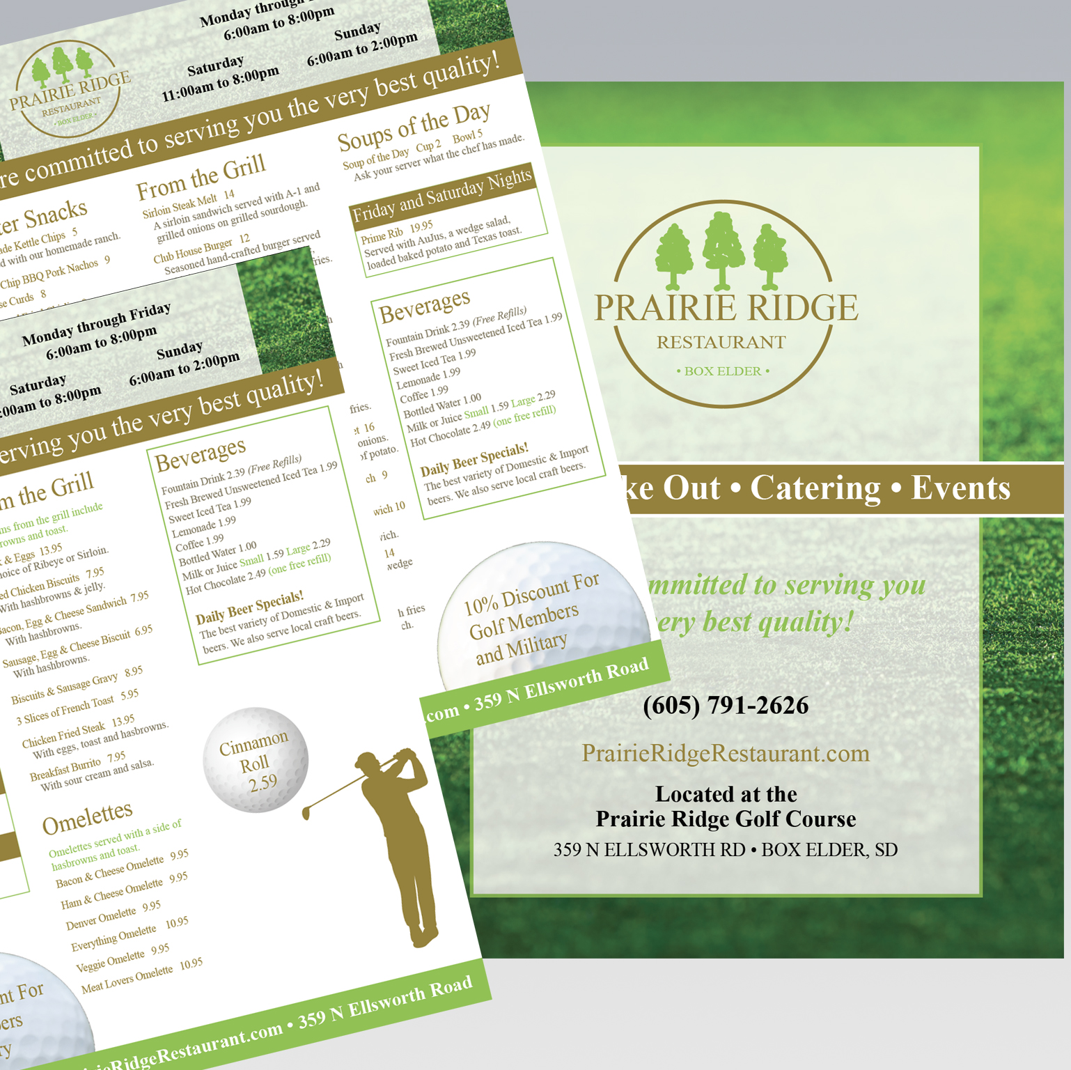Prairie Ridge Restaurant Menu - Dot Marketing and Website Design