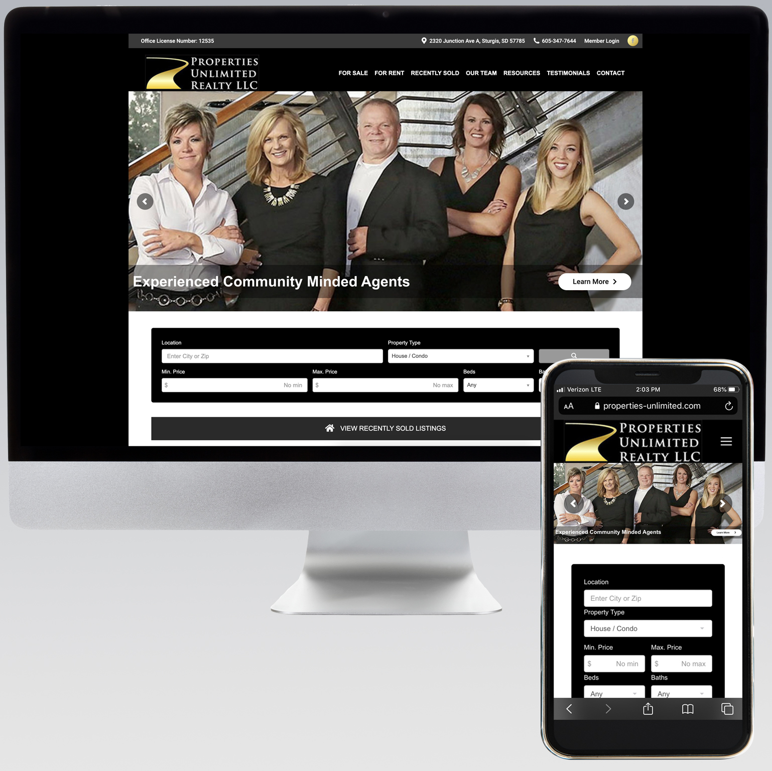 Properties Unlimited Realty Website - Dot Marketing and Website Design