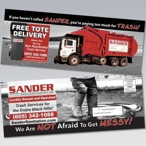 Sander Sanitation Residential Direct Mailer - Dot Marketing and Website Design
