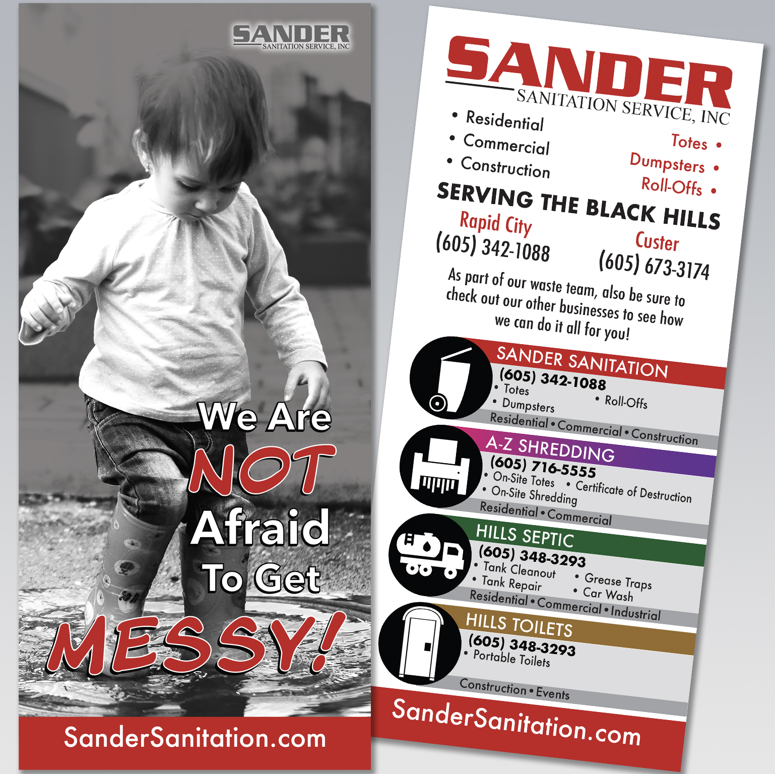 Sander Sanitation Rack Card - Dot Marketing and Website Design