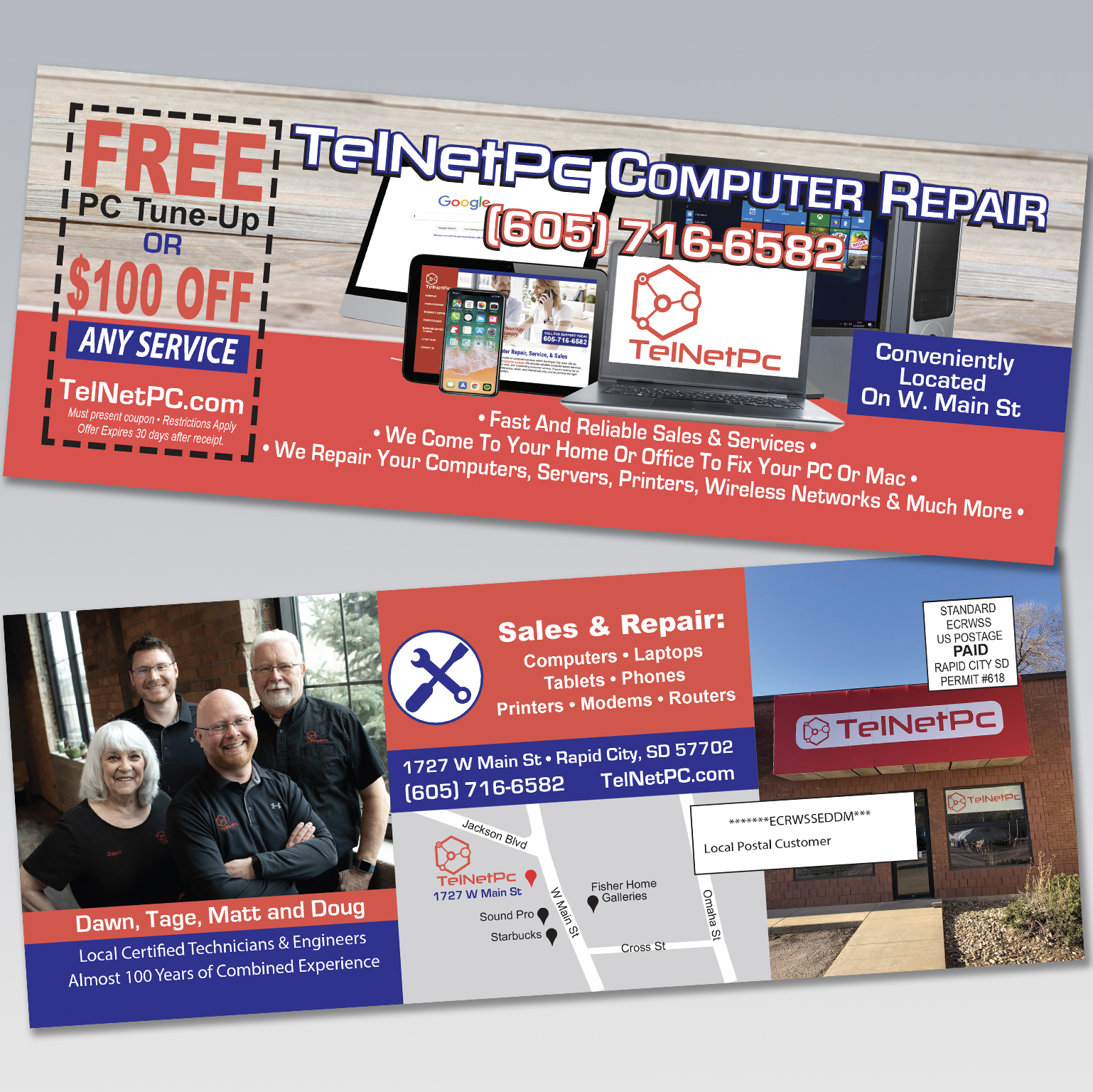 TelNetPc Computer Repair Residential Mailer - Dot Marketing and Website Design