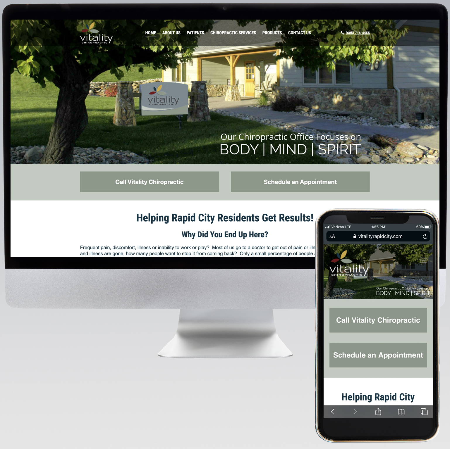 Vitality Chiropractic Website - Dot Marketing and Website Design