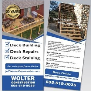 Wolter Construction Rack Card - Dot Marketing and Website Design